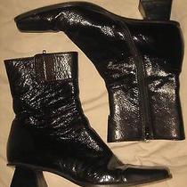 Authentic Patent Leather Unusual Triangle Heel Miu Miu Prada Ankle Go Go Boots 8 Photo