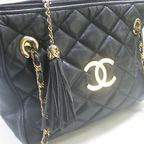 Authentic  Perfect Vtg 1980's Chanel Black Leather Quilted Shoulder Purse  Photo