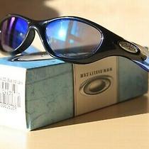 Authentic Pocket Polished Black W/ Oo Blue Iridium Sunglasses - Great Condition Photo