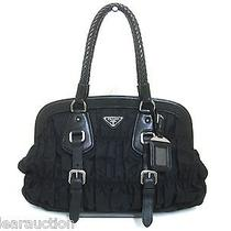 Authentic Prada Black Gaufre Nylon Leather Handbag W/ Name Tag Photo