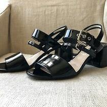Authentic Prada Black Patent Leather Buckle Chunk Heel Sandals Sz 40.5 Excellent Photo
