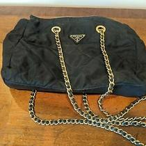 Authentic Prada Black Quilted Nylon Shoulder Bag Purse Gold Chain Photo