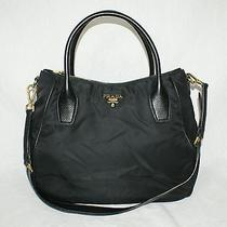 Authentic Prada Black Tessuto Nylon Leather Trim Zip Top Tote Satchel Handbag Photo