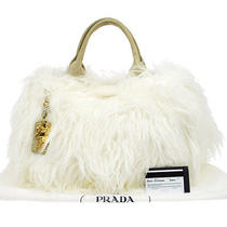 Authentic Prada Canapa Eco-Fur Hand Tote Bag White Beige Vintage Italy Nr03397 Photo