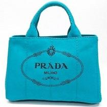 Authentic Prada Canapa Mini Tote Bag Turquoise Blue Bn2439 Photo