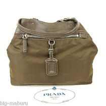 Authentic Prada Dark Brown Nylon & Leather Tote Shopping Shoulder Bag Italy Made Photo