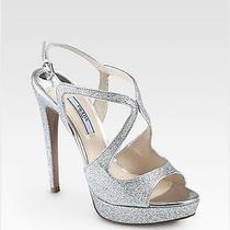 Authentic Prada Glitter Argento Shoes- Size 7.5 Photo