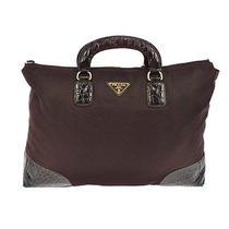 Authentic Prada Hand Tote Bag Purple Embossed Leather Nylon Italy Vintage M08323 Photo