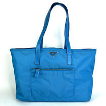 Authentic Prada Light Blue Nylon Shoulder Hand Bag Purse Made in Italy Photo