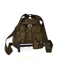 Authentic Prada Logos Backpack Bag Nylon Leather Khaki Italy Vintage 02w577 Photo