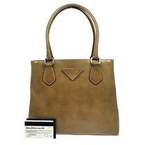 Authentic Prada Logos Hand Tote Bag Beige Patent Leather Italy Vintage Nr03342 Photo