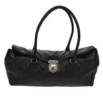 Authentic Prada Logos Hand Tote Bag Black Silver Leather Italy Vintage B24773 Photo