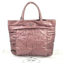 Authentic Prada Logos Hand Tote Bag Purple Leather Vintage Made in Italy B20950 Photo