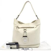 Authentic Prada Logos Hand Tote Bag White Silver Leather Vintage Italy Rk07957 Photo