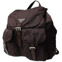 Authentic Prada Logos Mini Backpack Style Brown Nylon Italy Vintage Junk 848 Photo