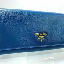 Authentic Prada Logos Saffiano Leather Long Wallet Purse Blue  Photo