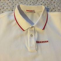 Authentic Prada Men's White Cotton Signature Stripe Polo Shirt Used 1x  Photo