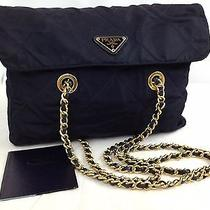 Authentic Prada Nylon Gold Plated Chain Shoulder Bag Navy 5k170500 Photo