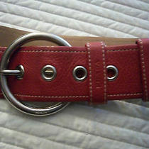 Authentic Prada Red Leather Belt Chrome Top Stich Signature Size M - L New Mint Photo