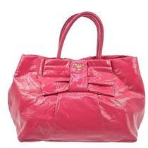 Authentic Prada Ribbon Motif Hand Tote Bag Pink Patent Leathe Italy K05502 Photo