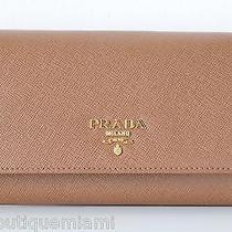 Authentic Prada Saffiano Metal Leather Clutch Bifold Wallet Caramel Nwb 690 Photo