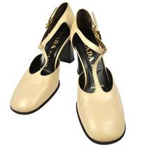 Authentic Prada Shoes Pumps Beige Leather Italy 35 1/2 Vintage W07630 Photo