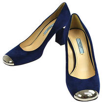 Authentic Prada Shoes Pumps Blue Suede Leather  37 Italy Vintage M07767 Photo