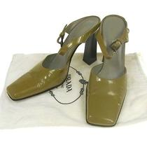 Authentic Prada Shoes Pumps Light Green Patent Leather Italy Vintage D01911a Photo