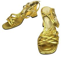 Authentic Prada Shoes Sandals Gold Leather Made in Italy Vintage 36 1/2 W08075 Photo