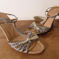 Authenticprada Tan Wicker & Silver Braided Wedge Hi Heel Strappy Sandals 37/7us Photo