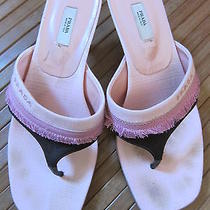 Authentic Prada Vero Cuoio Kitten Heel Fabric Thong Sandals Size 37 Us 7 Photo