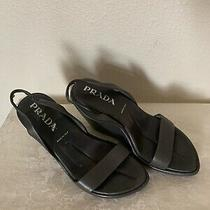 % Authentic Prada Wedge Sling Back Shoes 37  Photo