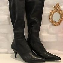 Authentic Prada Womens Boots Black Leather Size 38(us8) Made in Italy Photo