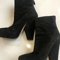 Authentic Prada Women's Suede Round Toe Ankle Boots Black Size 38.5 / 8.5 Photo