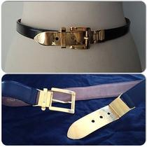 Authentic Rare 80s Vintage Moschino Leather Belt With Gold Buckle Size 40 Photo