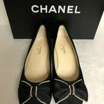 Authentic Rare Black Satin Pearl & Bow Loafer Ballet Cc Logo Flats Shoes  Photo