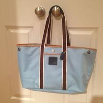 Authentic Rare Coach Hamptons Aqua Blue Canvas Purse Tote Handbag Photo