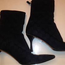 Authentic Rare Gucci Gg Monogram Canvas Ankle Boots Size 7.5 Kitten Heel Photo