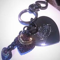 Authentic Rare Juicy Couture Gunmetal Purple Pave Stones Key Chain Ring Fob Photo