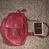 Authentic Rare Vintage Red Coach Purse Backpack Strap Tag String Bag Pouch Photo