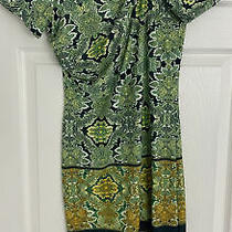 Authentic Roberto Cavalli Green Print Short Sleeve Dress Size 42/uk 10 Photo