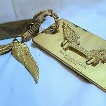 Authentic Robins Jean Gold Metal Bag-Charm Key-Holder Clip Ring Angel Wings Logo Photo