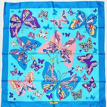 Authentic Salvatore Ferragamo Butterflies Shoes Blue Pink Yellow Silk 36