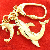 Authentic Salvatore Ferragamo Dolphin Motif Goldtone Key Ring Charm Italy W/box Photo