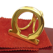 Authentic Salvatore Ferragamo Ganchini Scarf Ring Gold-Tone Italy Jt00354c Photo