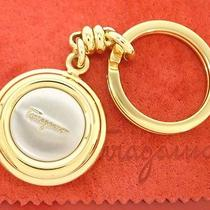 Authentic Salvatore Ferragamo Gold Tone Key Ring Round Charm W/box Dustbag Italy Photo