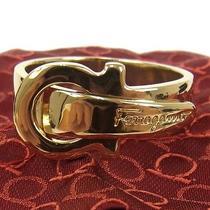 Authentic Salvatore Ferragamo Logos Belt Motif Scarf Ring Gold Tone Italy M07309 Photo