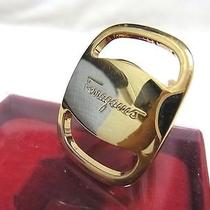 Authentic Salvatore Ferragamo Scarf Ring Vara Gold Tone W/box Accessory Photo