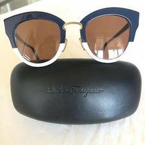 Authentic Salvatore Ferragamo Sunglasses Euc Navy Blue & White Frames Photo