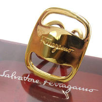 Authentic Salvatore Ferragamo Vara Scarf Ring Gold-Tone Italy Jt00354b Photo